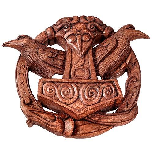 Wandschmuck Wikinger Thorshammer aus Holz Viking