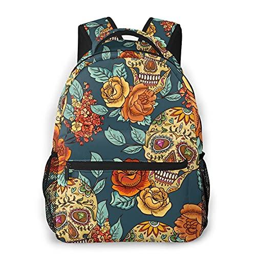 BYTKMFD Mochilas florales de azúcar para libros escolares, bolsa de transporte ligera para viajes, deportes, mochila - negro - talla única