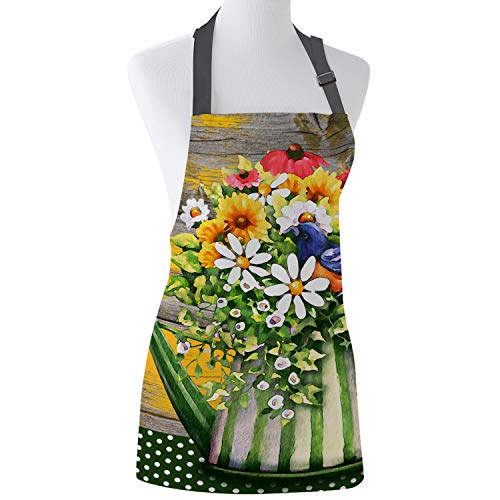 Prime Leader Adjustable Bib Apron Flower in The Kettle Vintage Wood Grain Kitchen Chef Aprons for Women and Men with Extra Long Ties for Cooking/Restaurant/Cafe/Baking/Gardening 15' x 20'