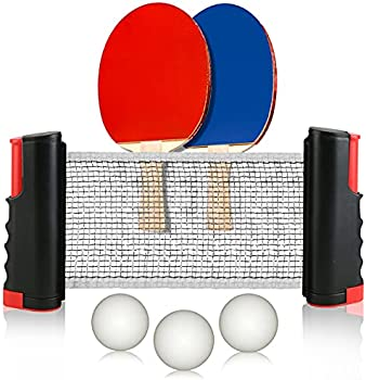 Retractable Table Tennis Net and Post Set with 2 Paddles, 3 Balls & Bag