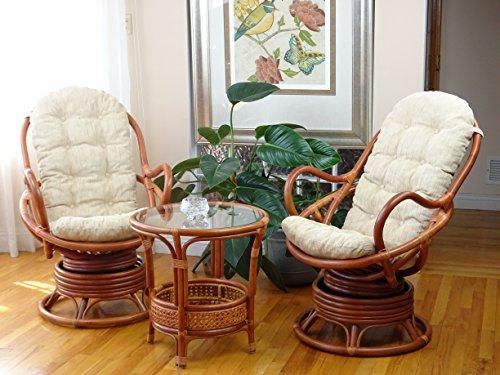 Java Lounge Swivel Rocking Chair with Cream Cushion Natural Rattan Wicker Handmade, Colonial