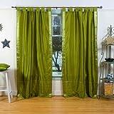 Indian Selections Olive Green Tab Top Sheer Sari Curtain/Drape/Panel - 43W x 96L - Piece