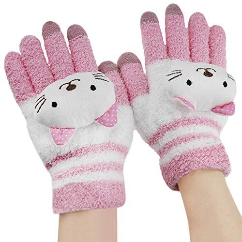 BXT Woolen Touch Screen Winter Gloves Super Warm Soft Cute Cat Mittens for Kids Children(Pink Cat)