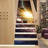 Pegatinas de escalera Cielo estrellado 3D Pegatinas de escalera para decoración del hogar, Mural de escaleras impermeables,Papel pintado de pegatinas de escalera