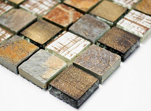 Mosaik Quadrat Crystal/Stein mix rustikal Glas Naturstein Fliesenspiegel, Mosaikstein Format: 23x23x8 mm, Bogengröße: 300x325 mm, 1 Bogen/Matte