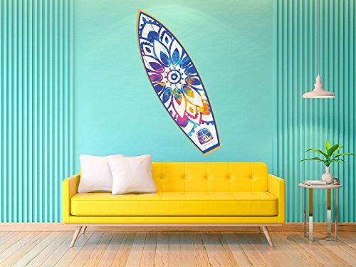 Oedim Tabla de Surf Mandala   150x45cm   Fabricado en Vinilo Adhesivo Resistente y Económico   Pegatina Adhesiva Decorativa de Diseño Elegante