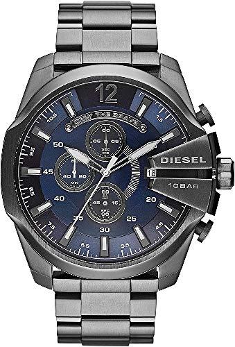 Diesel Men's Mega Chief Quartz Stainless Steel Chronograph Watch, Color: Gunmetal/Blue Dial (Model: DZ4329)