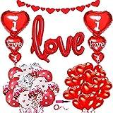 34 Piezas Kit de decoración de globos de San Valentín-Globos de corazón rojo Globos de confeti rojo y pancarta de corazón para el día de San Valentín boda cumpleaños aniversario compromiso decoración