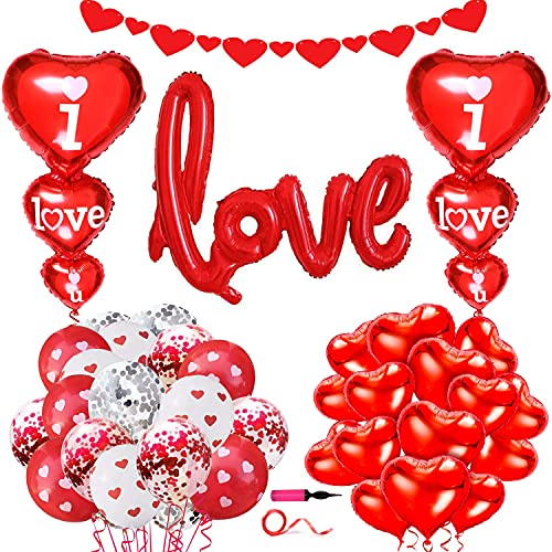 34 Pezzi Kit decorazione palloncini Valentine's Day - Palloncini cuore rosso Palloncini in lattice coriandoli rosso e striscione cuore per Valentine's Day Matrimonio Compleanno Anniversaire Decoration