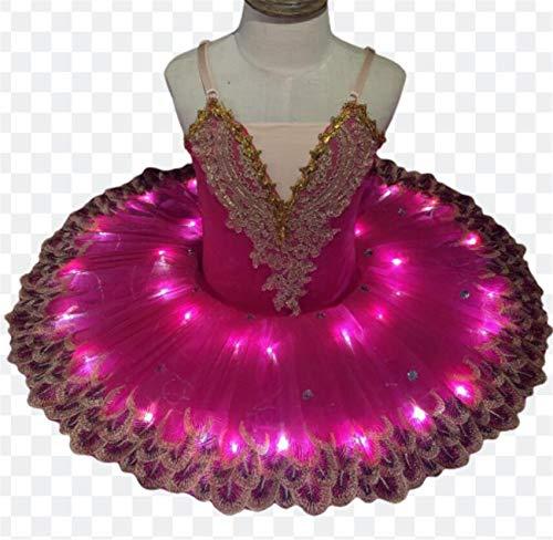 ZYLL Disfraces LED Lago de los cisnes Ballet del tut del Ballet del Traje de Bailarina de Las Muchachas del Vestido de los nios del Vestido de Partido de la Etapa Dancewear,Rosado,170CM