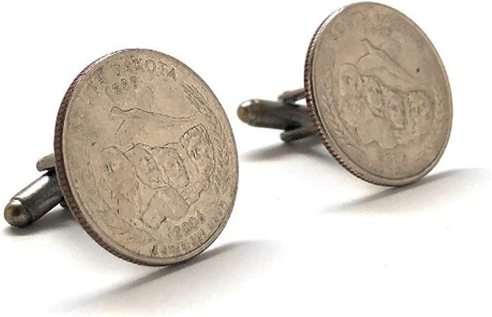 Enamel Cufflinks South Dakota State Quarter Enamel Coin Jewelry Money Currency Finance Cuff Links