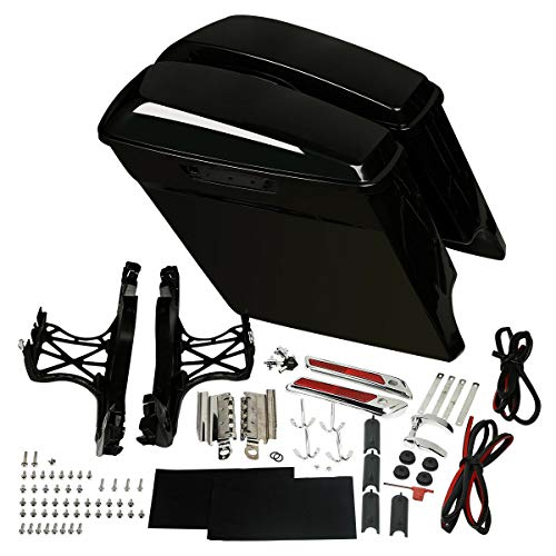 Best Review Of Green-L Unpainted 5 Stretched Saddlebags With Chrome Latches Assemblies Kit Fit For ...