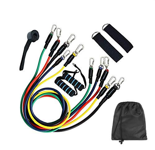 11 Pcs Exercise Fitness Resistance Bands Set Fitness Rope Stretch Workout Fitness Set Bodybuilding Elastic Pull Rope Full Body Waist Arm Leg Strength Training Loop for Pilates, Rehab, Yoga Gym