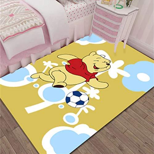 llc Decoración De Alfombras Alfombras De Juego para Niños Sala De Estar Alfombras Antideslizantes Antiincrustantes Dormitorio De Niñas Dibujos Animados Rectangulares Feliz Winnie The Pooh