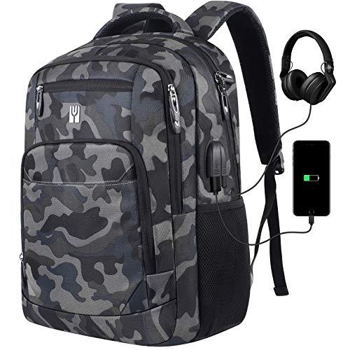 Laptop Rucksack, Rucksack Herren mit USB-Ladeanschluss Schulrucksack Jungen Teenager mit 15,6 Zoll Laptopfach für Arbeit Schule Reise,35-45L