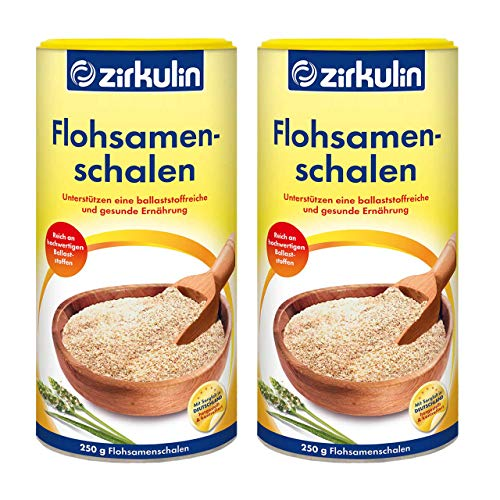 Zirkulin Flohsamenschalen, reich an hochwertigen Ballaststoffen, geschmacksneutrales Nahrungsergänzungsmittel zur Unterstützung der natürlichen Verdauung, 2 x 250g Dose