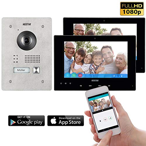 Neostar 2 Draht IP Video Türsprechanlage ✓ Smartphone App ✓ 2x 7 Zoll Touchscreen Monitor ✓ Full HD Kamera ✓ 172° Weitwinkel-Kamera ✓ 2-Draht IP ✓ 1 Familienhaus ✓ Unterputz