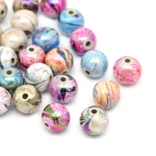 HOUSWEETY 300 Mix Mehrfarbig Kugeln Acryl Floral Perlen Beads 8mm …