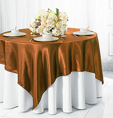 """Wedding Linens Inc.. 72"""" Square satin table Overlays Toppers Tablecloths Table Overlay Cover Linens for Wedding Decoration Party Banquet Events - Copper"""