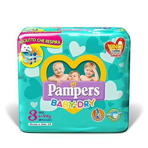Pampers Baby Dry Pannolini Midi, Taglia 3 (4-9 kg), 28 Pannolini