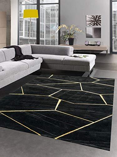 CARPETIA Tapis de Salon Motif géométrique Or Noir Größe 160x230 cm