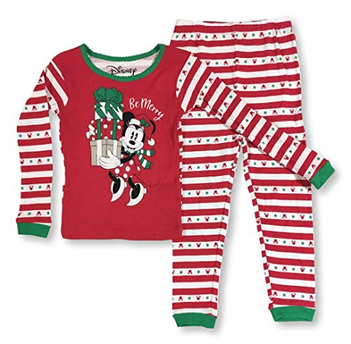Minnie Mouse Christmas Pajamas for Toddlers Be Merry 2-Piece PJ Set (2T) Red
