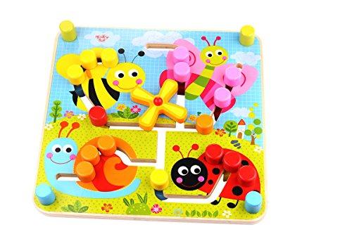 Tooky Toys Tkc573 en bois réversible Labyrinthe, Multicolore - Version Anglaise
