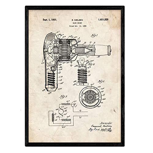 Nacnic Poster Patent Haartrockner. Blatt mit altem Design-Patent in der Größe A3 und Vintage-Hintergrund
