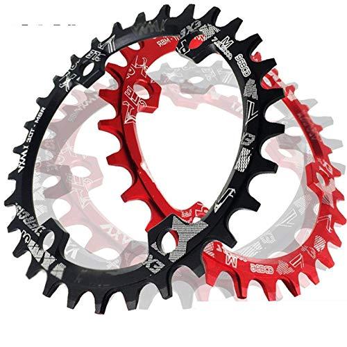TSAUTOP Newest Redondo/Oval 96BCD Chainring BTT Montaña BCD 96 for Bicicleta 32T 34T 36T 38T Bielas Piezas de Dientes en láminas for la M6000 M7000 M8000 (Color : Oval 34T Black)