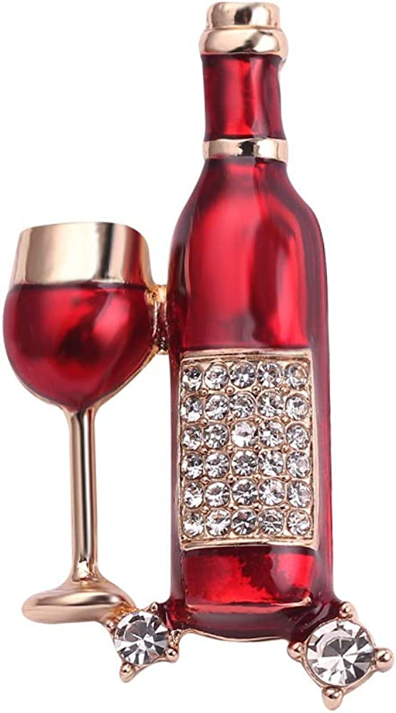 In stock Enamel Simulation Lapel Brooches Pins Set Wine Red Bottle B Cute Max 61% OFF