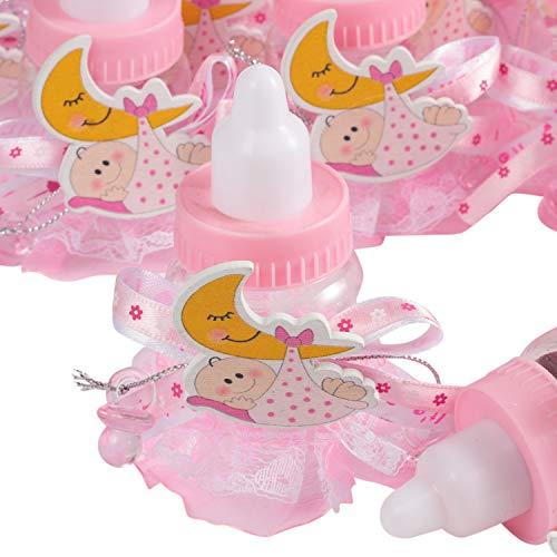 QILICZ 24 stück Flaschen Geschenk Box Gastgeschenke Taufe Baby-Süßigkeit Baby Candy Box mit Mini Dekoschnuller und Spitze Schürze für Mädchen Shower Babydusche Party Taufe Geschenkpaket Babyparty (A)