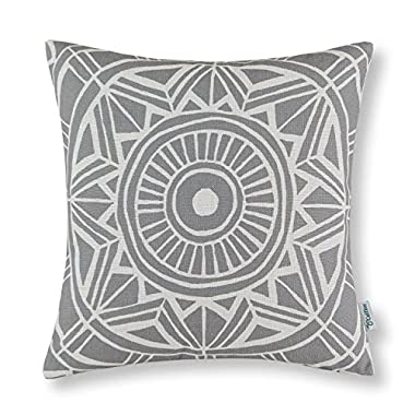 CaliTime Canvas Throw Pillow Cover Case for Couch Sofa Home Decor, Modern Compass Geometric, 20 X 20 Inches, Gray