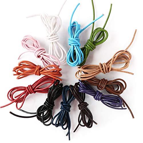 12m Cuerdas Cuero Cordón Pulsera Redonda 2mm 12 Colores Hilo Cuero Collar Colgante Manualidades Fabricación de Bisutería Abalorios Artesanía