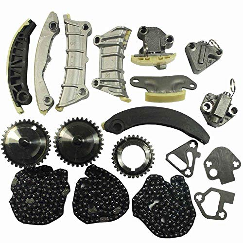 Engine Timing Chain Kit w/Chain Guide Tensioner Sprocket For Cadillac CTS SRX STS GMC Acadia Chevy Equinox Malibu Traverse Buick Allure Enclave LaCrosse 2.8L 3.0L 3.6L DOHC 24V Replace # 9-0753S