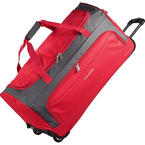 Travelite Garda XL Grand sac de voyage avec roulettes et fonction trolley, 72cm, pour homme ou femme, rot grau (Rouge) - 284301-10