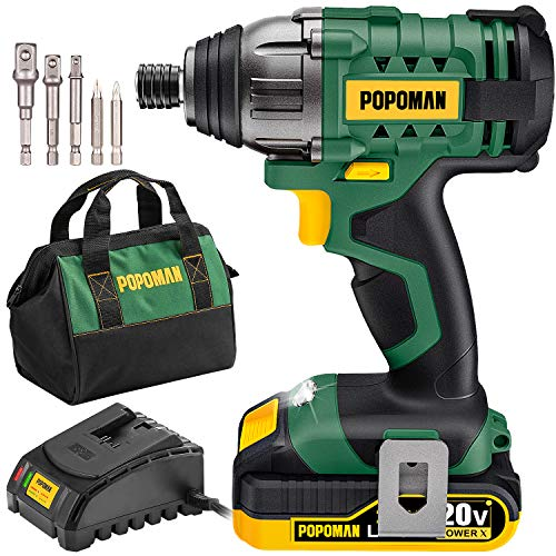"""Impact Driver, 1600In-lbs 20V MAX Impact Drill, 2000mAh Battery, 60-Min Fast Charger 2A, 1/4"""" All-metal Hex Chuck, 0-2900RPM Variable Speed, 6 Pcs Accessories"""