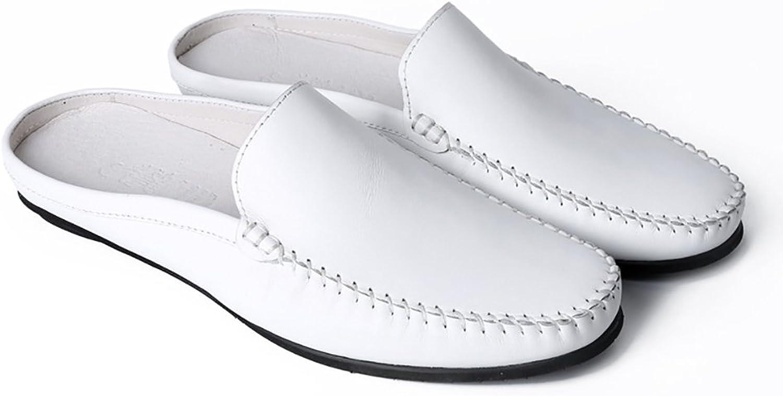 ZJM- Gentlehomme cuir Slipper Chaussures en Cuir d'été Homme Blanc Chaussures Soft chaussures Sandale en Cuir supérieur (Couleur   Blanc, Taille   38)