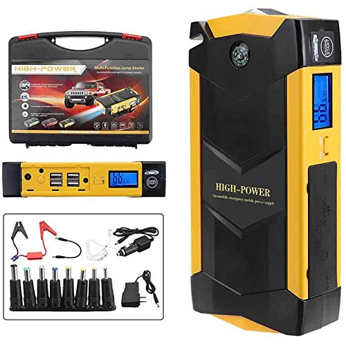 Hzlsy Car Jump Starter Pack with 4 USB 3 Light Mode 82800mAh 12V LCD Booster Charger Battery Power Bank for Motorcycle Boat RV Up to 6L Gas and 5L Diesel EngineYellow