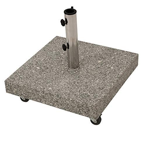Schirmständer aus echtem Granit quadratisch 50kg, für große Schirme bis 350cm, mit vier Rollen, naturfarben