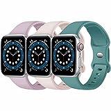 Paquete de 3 correas para Apple Watch compatibles con Apple Watch 38 mm, 42 mm, 40 mm, 44 mm, correa de silicona suave para relojes deportivos, compatible con iWatch SE Series 6 5 4 3 2 1(C, 38/40)