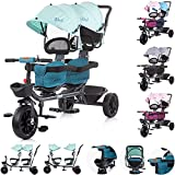 Chipolino, Triciclo Duet, 2 niños, hasta 40 kg, asiento delantero giratorio, manillar, color: verdeño