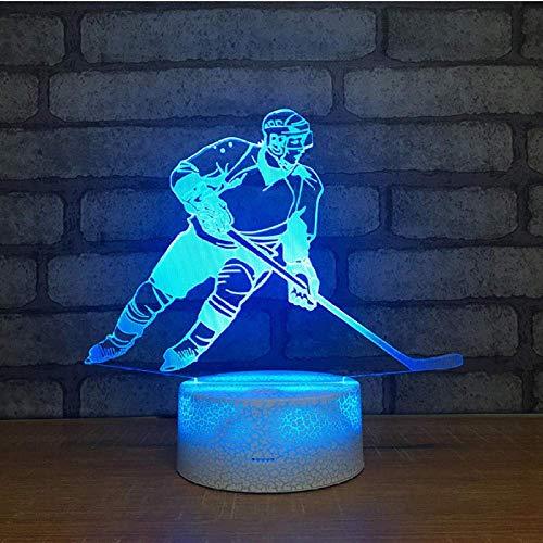 Eishockey-Spieler Figur 3D Tischlampe Touch Control 7 Farben, die Acryl-Nachtlicht USB-Deko Spielzeug für Kinder Geschenke