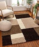 Shag Cubes Modern 3x5 ( 3'3'' x 5'3'' ) Area Rug Brown Plush Geometric Blocks & SquaresEasy Care Thick Soft Living Room