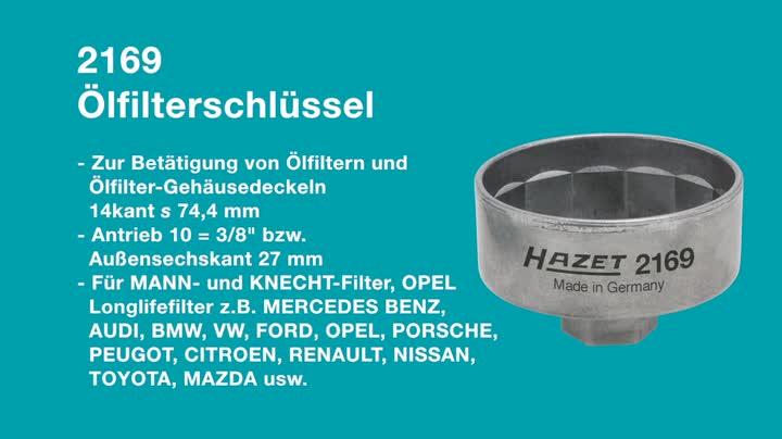 Hazet 2169 Ölfilterschlüssel Antrieb Innenvierkant 10 Mm 3 8 Zoll Oder Außensechskant 27 Mm Abtrieb 14kant Schlüsselweite 74 4 Mm Auto