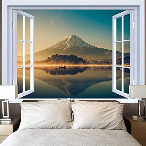 Tapiz de luna natural colgante de pared hippie playa bosque girasol cielo cielo estrellado ventana tapiz tela colgante A7 130x150cm