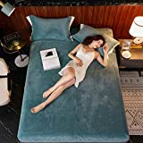 JUIC Einfarbige Flanell Bettlaken Plüsch Spannbetttuch Elastische Samt Bettwäsche Matratzenbezug Queen King Size Bettwäsche Set Tagesdecke, Seegrün, 180x200cm