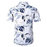 Camisa Hawaiana Shirts Hombres transpirable Animal Print Short Beach manga