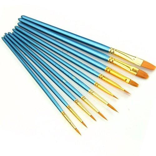 Pinselset 10-teilig für Nailart,Künstler Pinsel - Acryl Aquarell Runde Spitze Spitze Nylon Haar (1 x 10 Stück) (10 Stück)