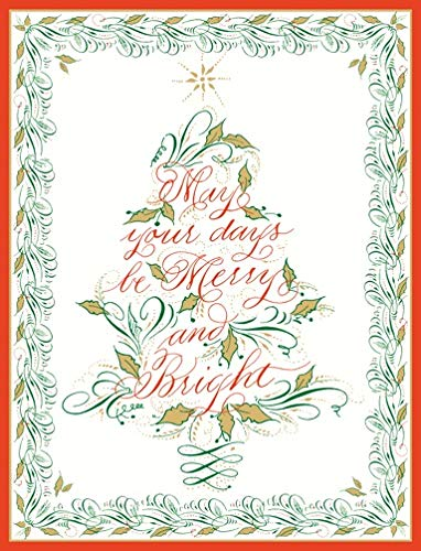 Calligraphy Design Christmas Cards Boxed Holiday Cards Christmas Greeting Cards Pak 16 with Envelopes