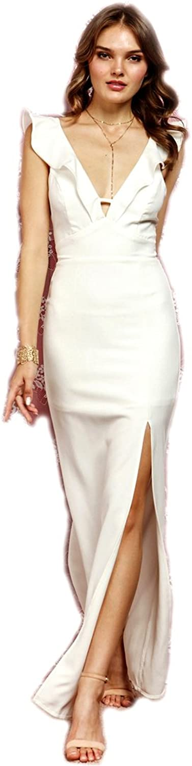 Crazy4Bling Soieblue, Ivory Ruffle Maxi Vneck Dress with Slit and Ruffles, Large